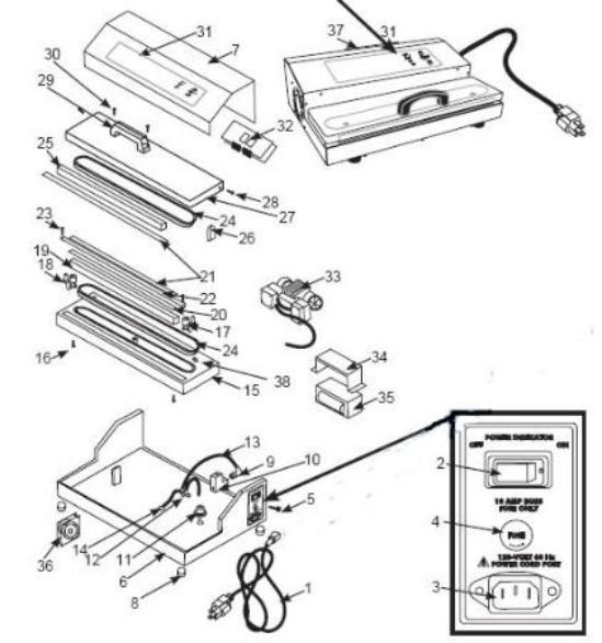 Pro-2300 vacuum sealer parts, parts for Weston Pro-2300